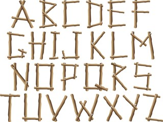 Alfabeto di Legno-Wood Alphabet-Vector