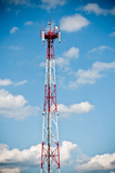 Telecommunication tower on blue sky poster