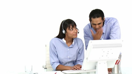 ethnic businessteam working together on computer