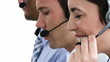 close-up of people working in a call-center