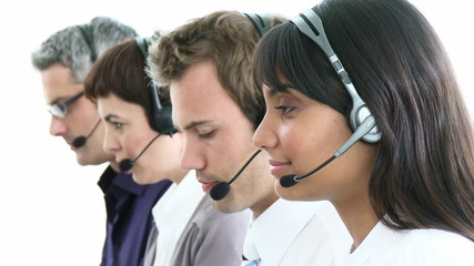 presentation of a multi-ethnic team in a call-center