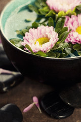bowl of water and flowers