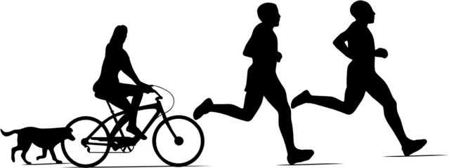 RUNNERS,BYCLE ET CHIEN