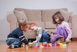 Preschoolers playing with blocks