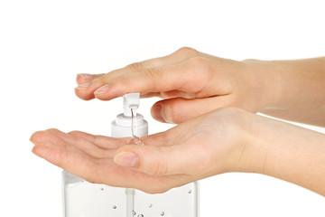 Hands with sanitizer gel