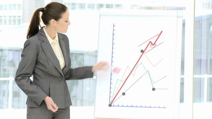 Competitive businesswoman reporting statistics