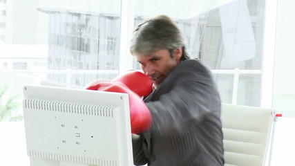 animated businessman wearing boxing gloves