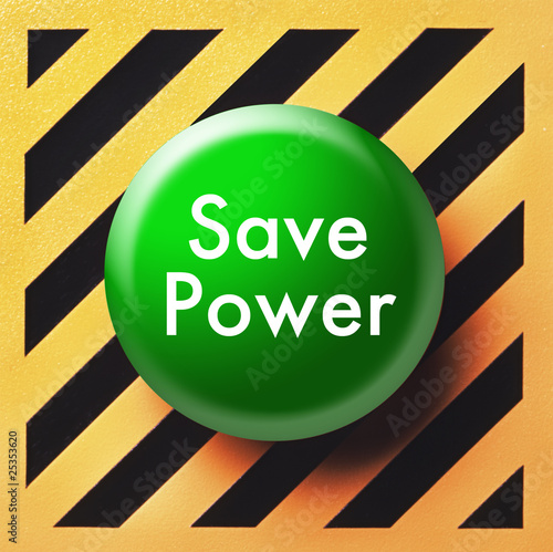 Save power button in green on yellow and black panel