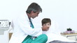 Confident doctor giving medicine to his patient