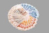 Croatian Kuna banknotes isolated on gray poster