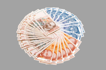 Croatian Kuna banknotes isolated on gray