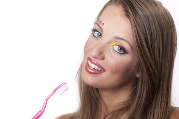 bellezza sorriso e denti con spazzolino