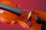 Violin Viola Isolated on Red