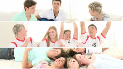 Lively teenagers having fun together