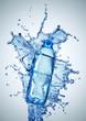 plastic bottles in water swirl