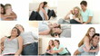 Montage of  young romantic couples relaxing