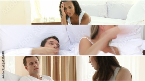 Montage of couples having argument at home