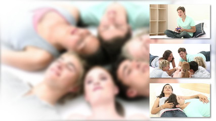 montage of groups of teenagers