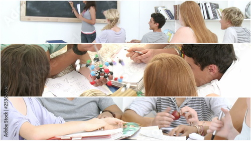 Montage of serious teenagers studying