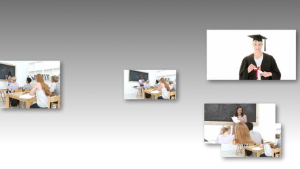 montage of teenagers studying against grey background