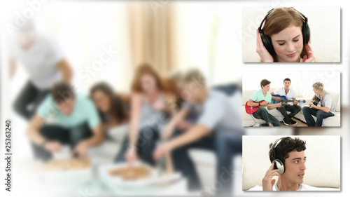 collage showing teenagers listening music