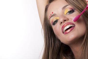 bellissimo sorriso con spazzolino