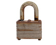 An Old, Used, Rusty Padlock. Macro, Islolated, White Background