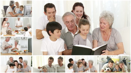 collage showing families at home