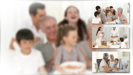 collage of families at home