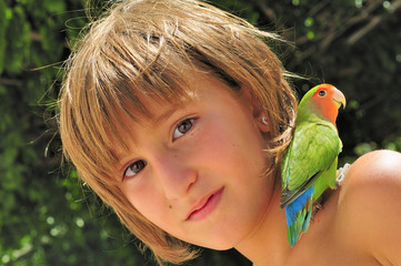Pet Parakeet on a Child's Shoulder