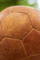 Old leather ball, closeup.
