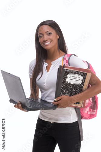 African American College student with laptop PC