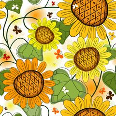 Repeating floral white summer pattern