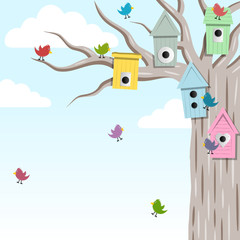 Bird house on the tree