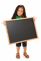 Hispanic Girl with Blank Blackboard