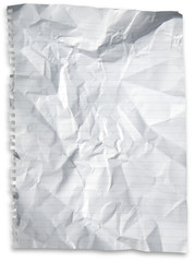 Crumpled perforated paper sheet with drop shadow