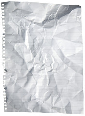 Crumpled paper sheet isolated with ripped perforation