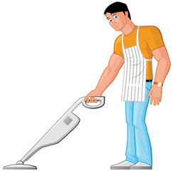 Househusband cleaning with vacuum