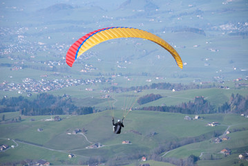 Paraglider in Swiss Alps