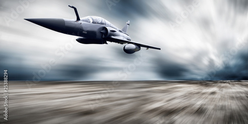 canvas print picture Military airplan on the speed