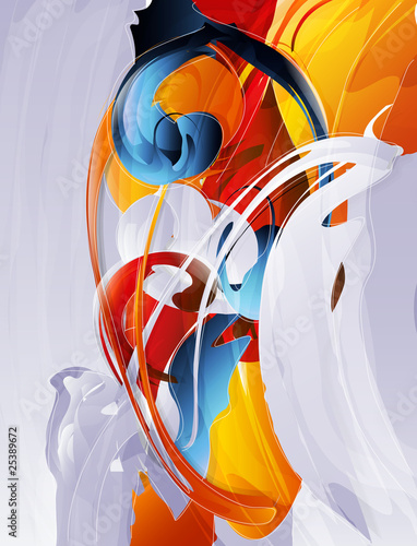 Fototapety, obrazy : abstract vector graphic, bright background in graffiti