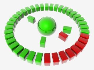 diagramme 3d rouge et vert