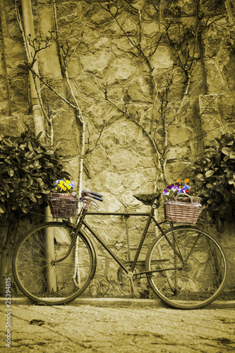 Aluminium Fiets Vintage bicycle with bunches of flowers. Sepia toned