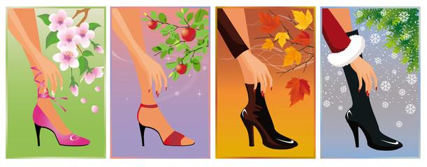 seasons banner. vector