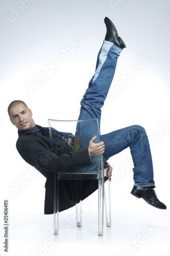 male dancer in a chair