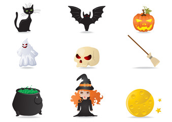 Vector illustration of halloween icons