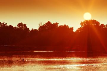 Canoeing man silhouette on sunset lake