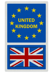 EU signs series - United Kingdom, photo realistic, isolated on w