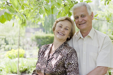 Happy senior couple enjoying the nature
