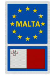EU signs series - Malta, photo realistic, isolated on white